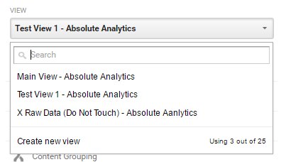 Example Google Analytics View Structure